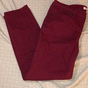 Wine red skinny jeans